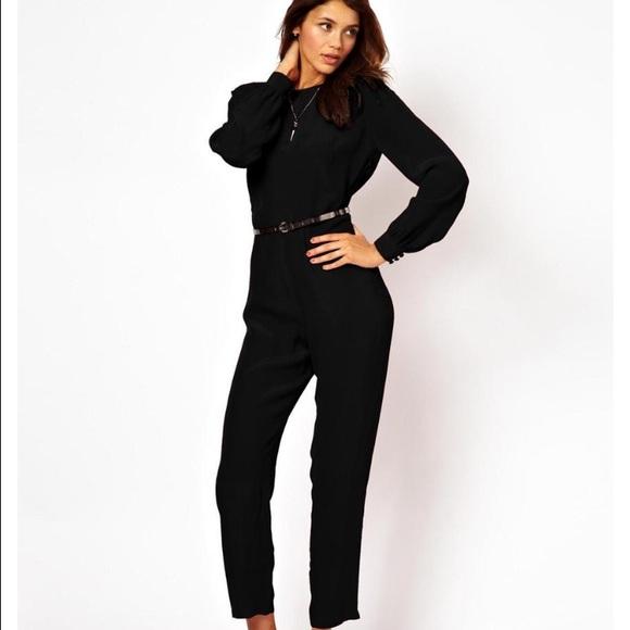 df78227fdce ASOS Simple Jumpsuit w  Long Sleeves - BLACK