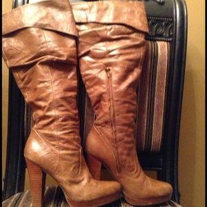 Brown Jessica Simpson platform boots. 9B