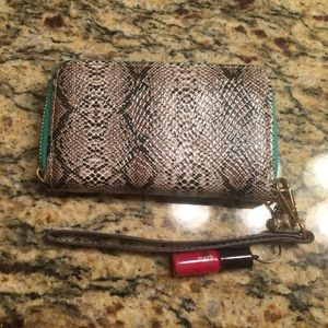 Mark by Avon Clutches & Wallets - Snake Skin Pleather and Aqua Wristlet Wallet