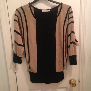 a knitch above Tops - Loose Fitting Tan and Black Striped Tee