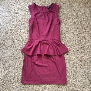 Wine peplum dress