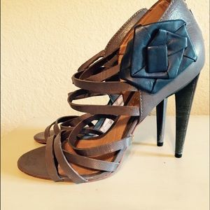 L.A.M.B. Heels in Grey Leather.