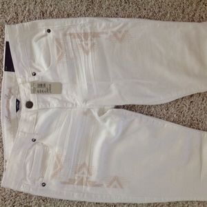 fa2c3b9220951d American Eagle Outfitters Jeans - White stretch skinny embroidered AE jeans  NWT 12R