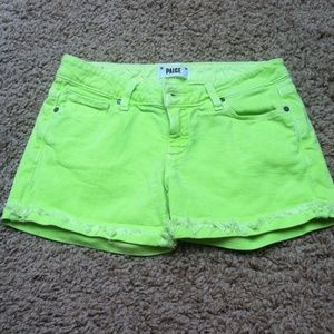 Paige neon yellow shorts.