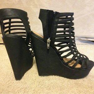 Black Wedge Caged Heels