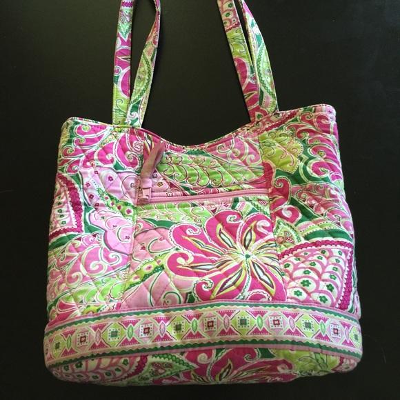 73% off Vera Bradley Handbags - Vera Bradley pink & green floral ...