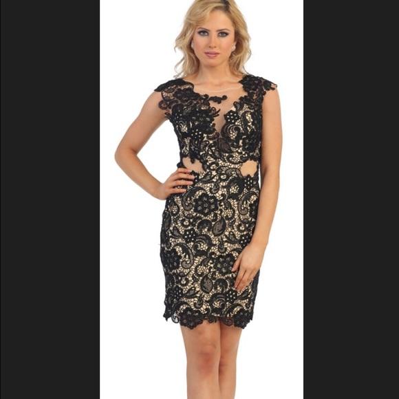 92cb2e1634a ... Lace Illusion Cocktail Dress. M 55b26d802a753579ab00aaca