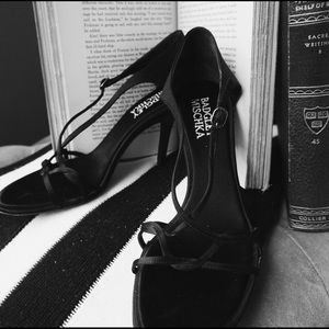 Black Strappy Satin Badgley Mischka Sandals