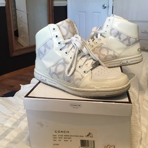 AUTH white high top Coach sneakers