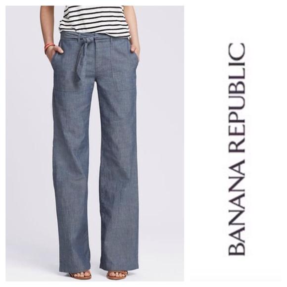 25% off Banana Republic Pants - Chambray tie-front Wide Leg Pant ...