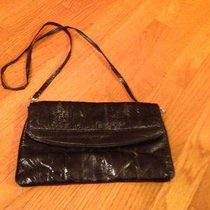 Classic Handbags - Timeless Black Evening Bag in Genuine Eel Skin🌹