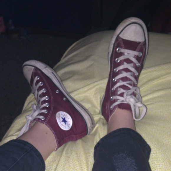 95af380163cc Converse Shoes - Maroon High-Top Converse