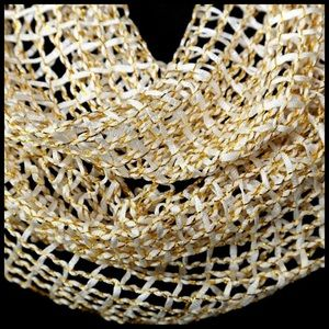 B39 Metallic Gold White Netting Lurex Infinity Scarf Boutique