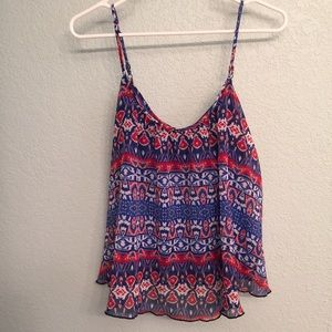 Express blue and red tribal tank