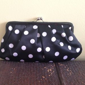 Clutches & Wallets - Black and White Polka Dot Clutch 👛