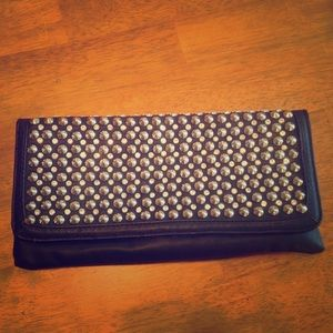 Black Studded Rhinestone Clutch Purse