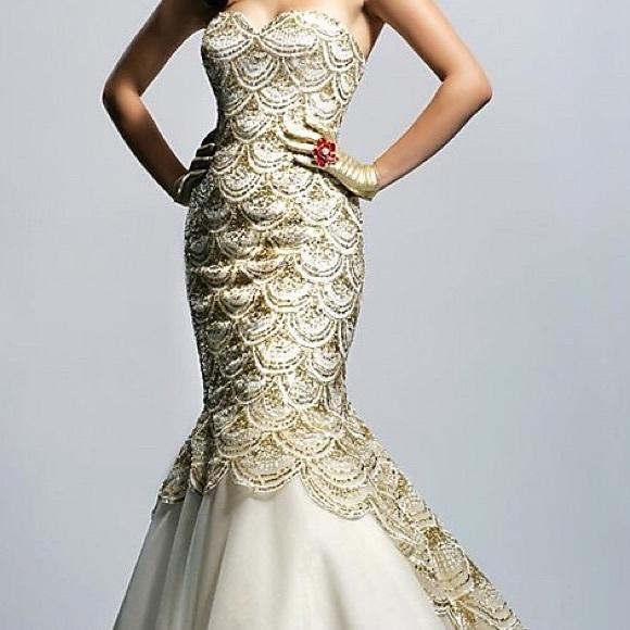 Sherri Hill Gold Mermaid Dress