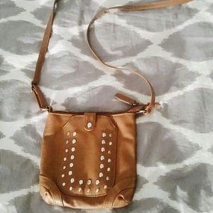 Studded crossbody camel purse