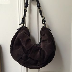 Brown suede leather hobo bag