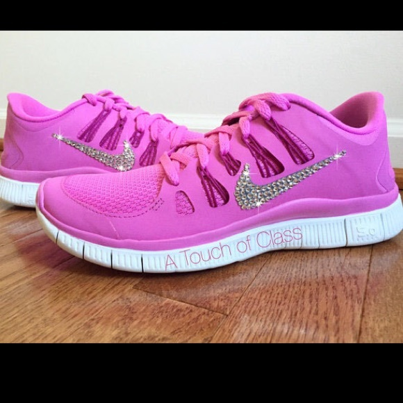 Nike Shoes - Women s Nike Free 5.0 Pink w  Swarovski Crystals 9a3077bc8a
