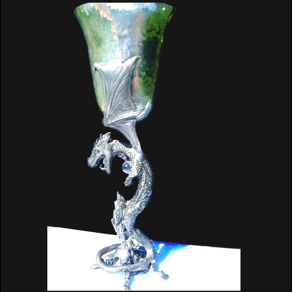 Handmade other solid pewter handcast dragon toasting goblet cup - Pewter dragon goblet ...