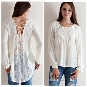 JUST IN✨Cream High Low Blouse with Lace-Up Back