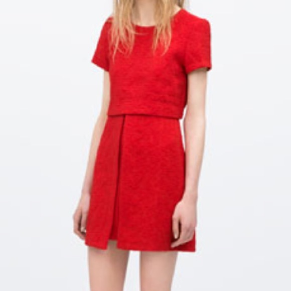 f58b334bb99c Zara Dresses | Red Jacquard Mini Dress | Poshmark