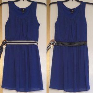 Iz Byer Dresses & Skirts - Blue Dress with Reversible Belt