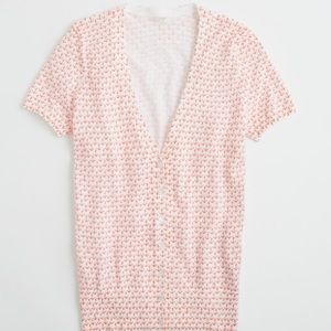 J.Crew Factory Anchor Print Short-sleeve Cardigan