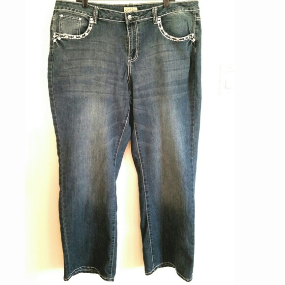 earl jean - earl jean distressed denim bling jean plus size 22