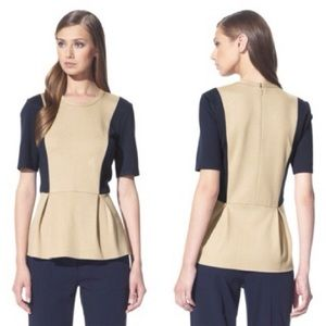 3.1 Phillip Lim for Target Tops - 3.1 Phillip Lim for Target Tan & Navy Peplum Top