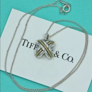 "*RARE* Tiffany & Co Silver/18K Gold Signature ""X"""