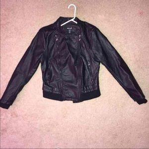 Wet seal faux leather BLACK double-zip jacket.