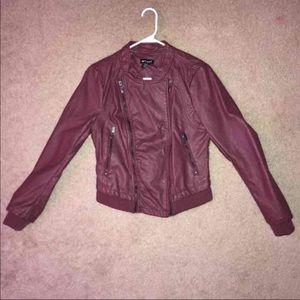 Wet seal faux leather OXBLOOD double-zip jacket.