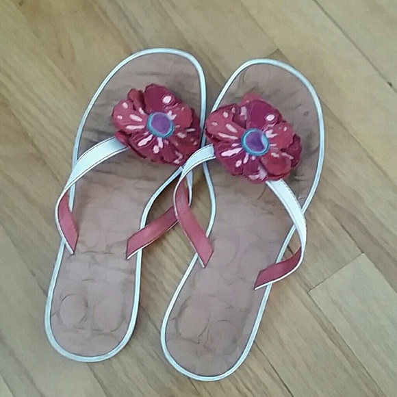 Coach Shoes - Coach Red Flower Poppy Flip Flop