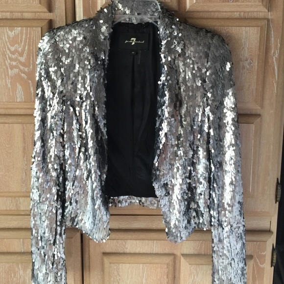 7 For All Mankind Jackets Amp Coats Silver Sequin Jacket