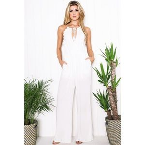 White Crochet Trim Keyhole Jumpsuit