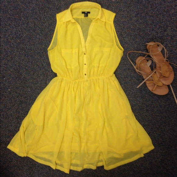 e7da7c77700 H M Dresses   Skirts - Bright yellow shirt dress with sheer details