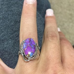 Accessories - Copper purple turquoise 925 Sterling silver ring