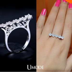 White Gold Plated CZ Bar Ring