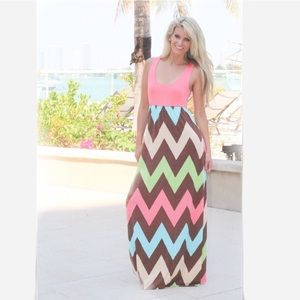 Boutique Dresses & Skirts - 🌹HP NWOT Chevron Maxi Dress Small