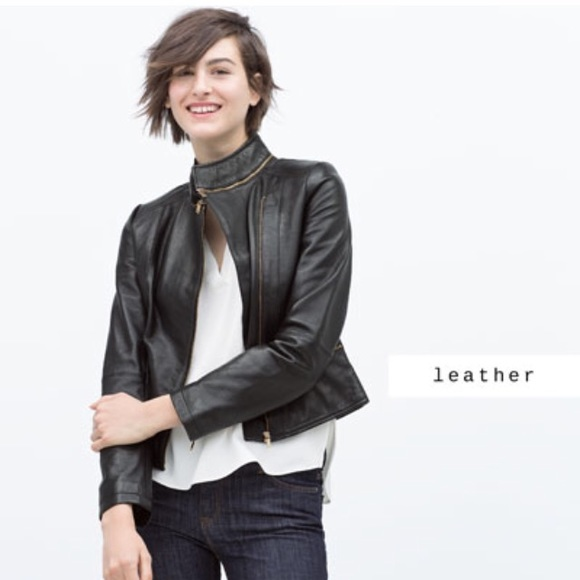 Leather sleeve jacket zara