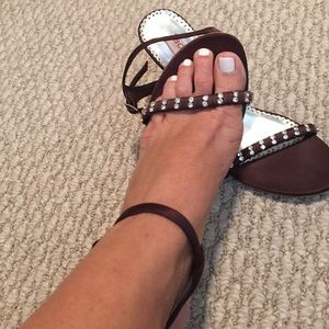 Satin and Sequence brown heels