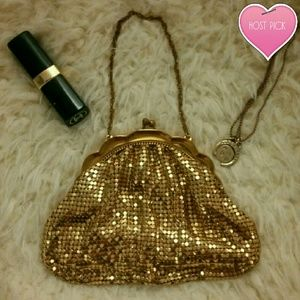 Whiting & Davis Co Gold vintage evening purse