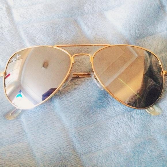 ray ban aviator gold mirror sunglasses