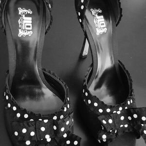 Shoes - JLO black polka dot heel, cute with jeans or dress