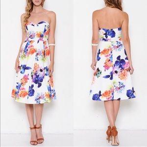 The AZALEA floral strapless dress - WHITE