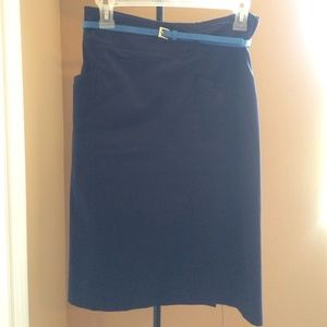 Navy pencil skirt w belt and pockets. H&M