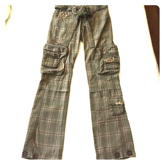 80% off Miss Me Pants - Miss Me Green Plaid Cargo Pants from ...