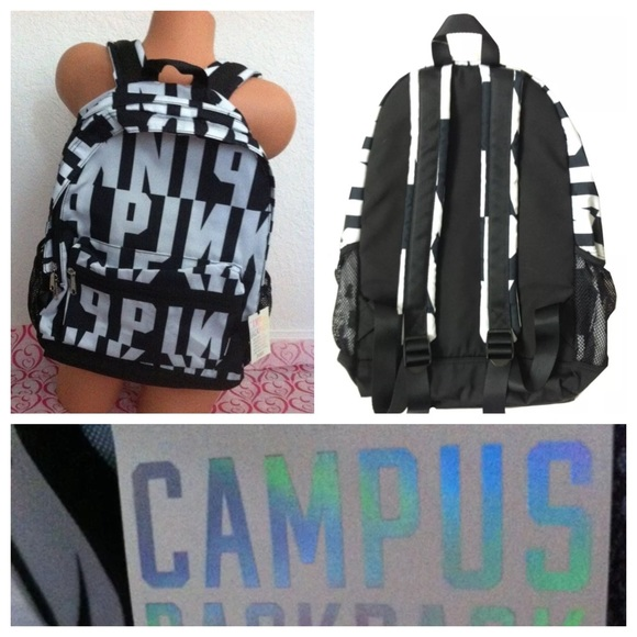 Victoria's Secret - VS Pink Bookbag Black White Logo Campus ...
